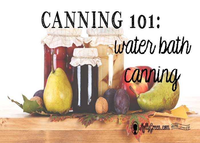Canning 101: Water Bath Canning How-To Guide - featured image showing canned fruits next to fresh fruits on a butcher block