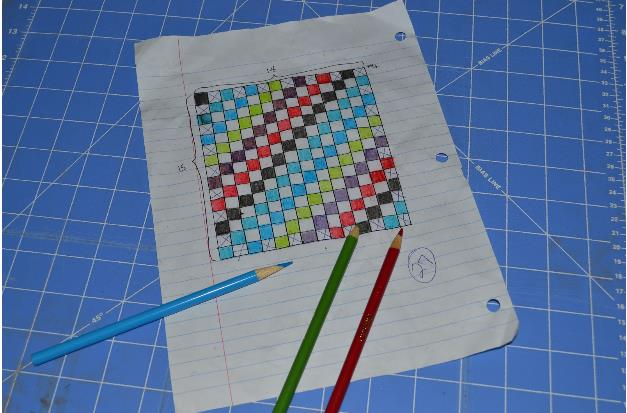 learning how to quilt starts with planning; quilt design on paper with colored pencils